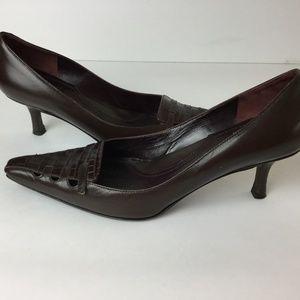 Via Spiga Dark Brown Leather Heels Italy